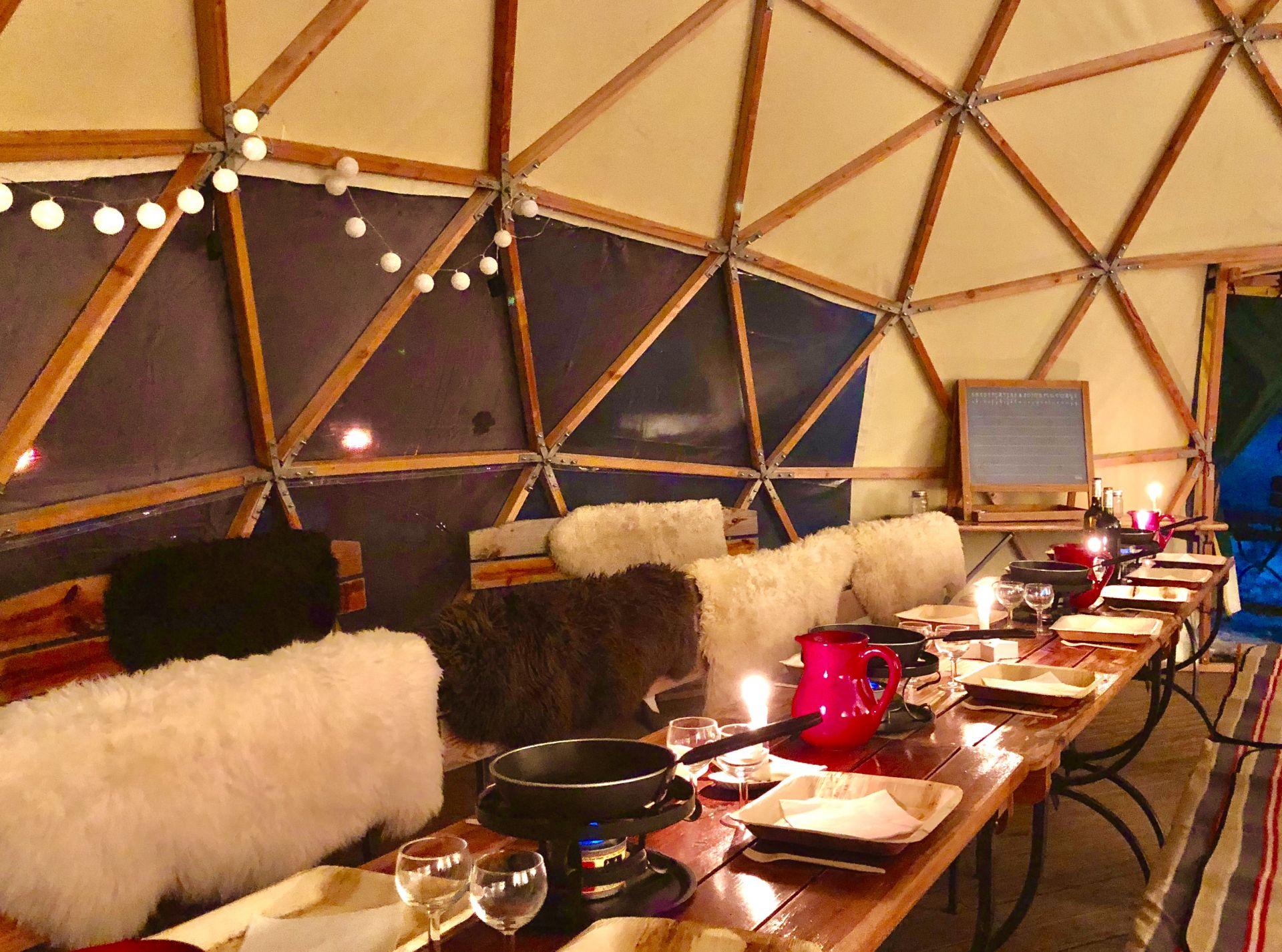 raclette-dome-igloo-cheminée -autrans-